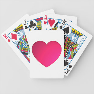 Shiny Cherry Red Heart Bicycle Playing Cards