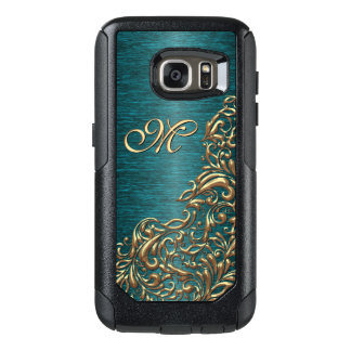 Shiny Chic Faux Gold Baroque Floral Swirl Pattern OtterBox Samsung Galaxy S7 Case