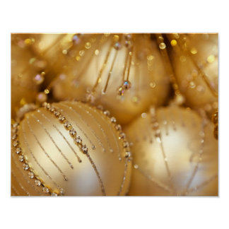 Shiny Christmas Glittered Ornaments - Gold Poster