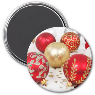 Shiny Christmas Glittered Ornaments - Gold Red 3 Inch Round Magnet