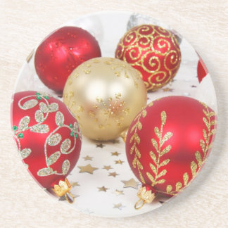 Shiny Christmas Glittered Ornaments - Gold Red Beverage Coaster