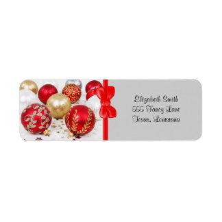 Shiny Christmas Glittered Ornaments - Gold Red Return Address Labels