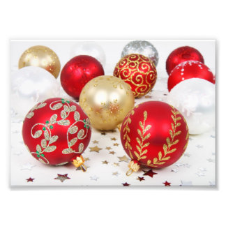 Shiny Christmas Glittered Ornaments - Gold Red Art Photo