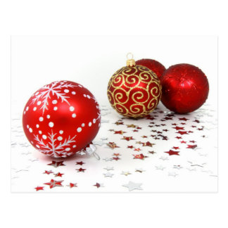 Shiny Christmas Glittered Ornaments - Red Gold Postcard