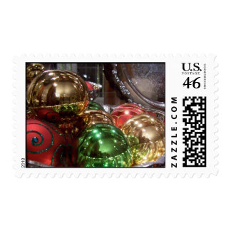 Shiny Christmas ornaments on Postage stamp