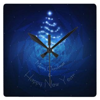 Shiny Christmas Tree on Abstract background Clock