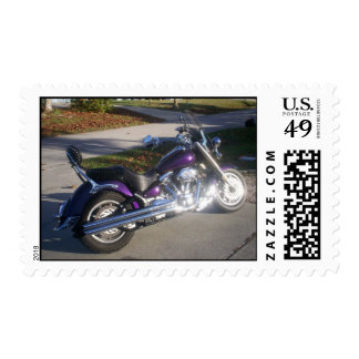 Shiny Chrome Deep Purple Motorcycle Postage Stamps