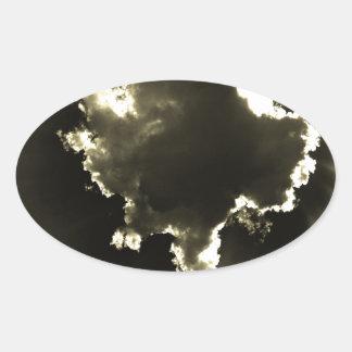 Shiny Cloud Oval Sticker