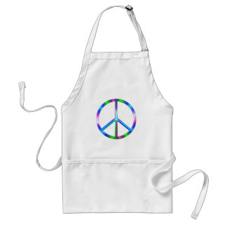 Shiny Colorful Peace Sign Adult Apron