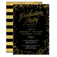 Shiny Confetti Graduation Party Invitation Black