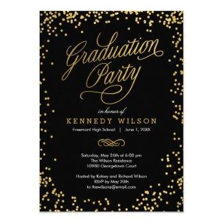 Shiny Confetti Graduation Party Invitation Black