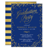 Shiny Confetti Graduation Party Invitation Blue