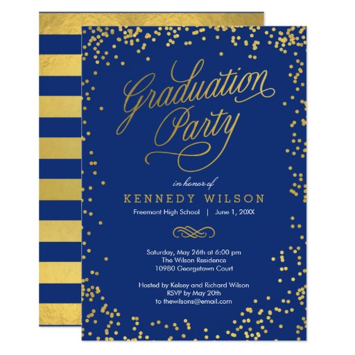 Shiny Confetti Graduation Party Invitation Blue