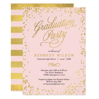 Shiny Confetti Graduation Party Invitation Pink by berryberrysweet at Zazzle