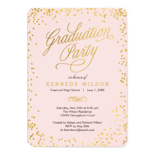 Shiny Confetti Graduation Party Invitation Pink at Zazzle