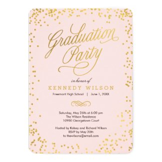 Shiny Confetti Graduation Party Invitation Pink