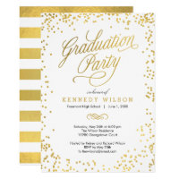 Shiny Confetti Graduation Party Invitation White
