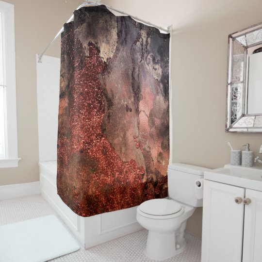 Shiny Copper Gold Glitter Ink Emerald Marble Shower Curtain