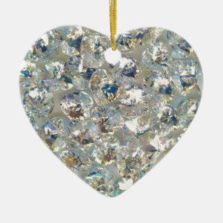Shiny Crystals Ceramic Heart Ornament