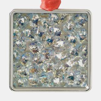 Shiny Crystals Square Metal Christmas Ornament