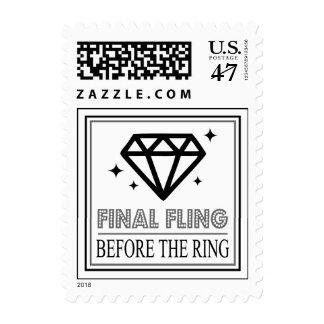 Shiny Diamond Bachelorette Party (Black / Gray) Postage