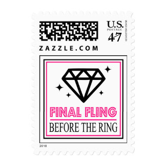 Shiny Diamond Bachelorette Party (Black/Hot Pink) Postage
