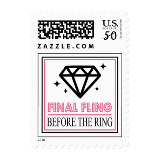 Shiny Diamond Bachelorette Party (Black / Pink) Postage