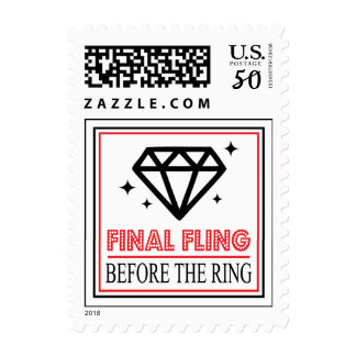 Shiny Diamond Bachelorette Party (Black / Red) Postage
