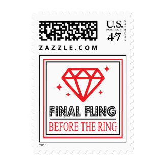 Shiny Diamond Bachelorette Party (Black / Red) Postage