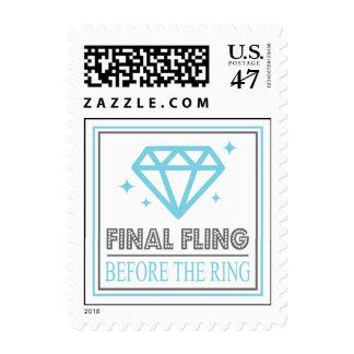 Shiny Diamond Bachelorette Party (Blue / Gray) Postage