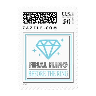 Shiny Diamond Bachelorette Party (Blue / Gray) Postage