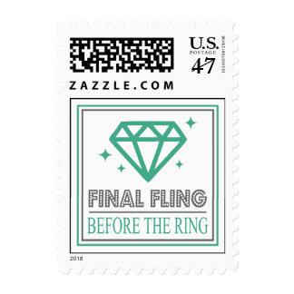 Shiny Diamond Bachelorette Party (Dark Green/Gray) Postage