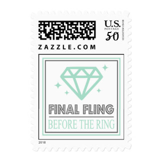 Shiny Diamond Bachelorette Party (Green / Gray) Postage