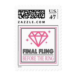 Shiny Diamond Bachelorette Party (Pink / Black) Postage