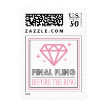Shiny Diamond Bachelorette Party (Pink / Gray) Postage
