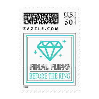 Shiny Diamond Bachelorette Party (Teal / Gray) Postage