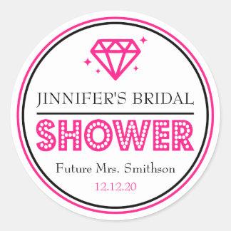 Shiny Diamond Bridal Shower Favor (Hot Pink) Classic Round Sticker