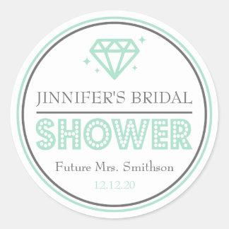 Shiny Diamond Bridal Shower Favor (Mint Green) Classic Round Sticker