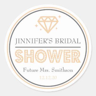 Shiny Diamond Bridal Shower Favor (Orange) Classic Round Sticker