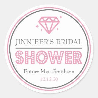 Shiny Diamond Bridal Shower Favor (Pink) Classic Round Sticker