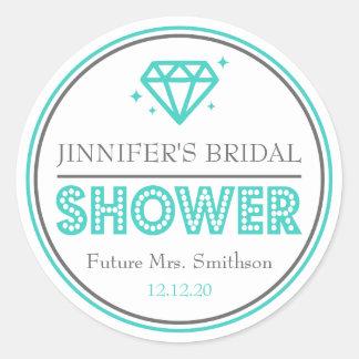 Shiny Diamond Bridal Shower Favor (Teal) Classic Round Sticker