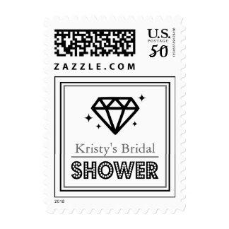 Shiny Diamond Bridal Shower Postage (Black / Gray)