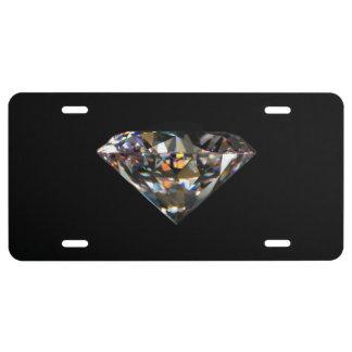 Shiny Diamond Carat Gems Jewel Black Background License Plate