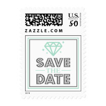 Shiny Diamond Save The Date Stamp (Green/Gray)