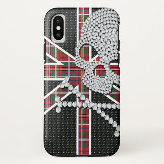 Shiny Diamond Skull Black Red Grid iPhone X Case
