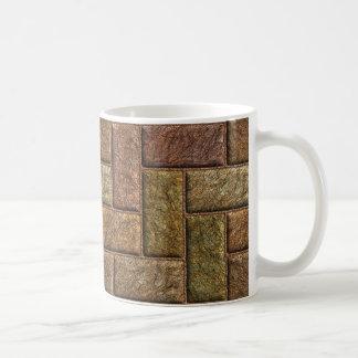 Shiny digital bricks pattern bronze and copper coffee mug