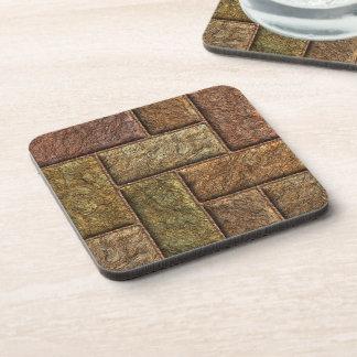 Shiny digital bricks pattern bronze and copper drink coaster