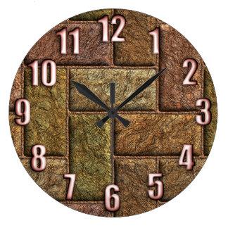 Shiny digital bricks pattern bronze and copper large clock