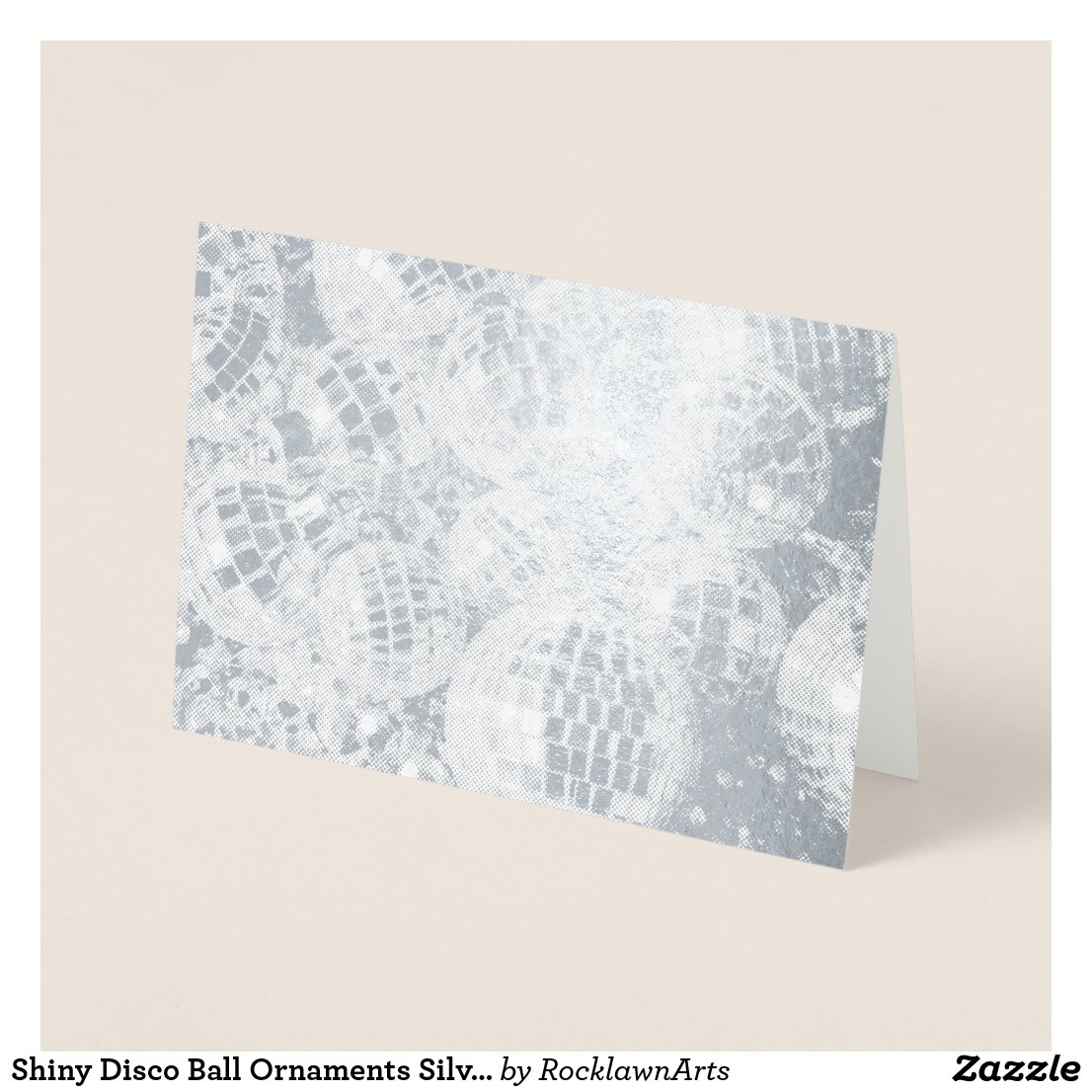 Shiny Disco Ball Ornaments Silver Foil Card