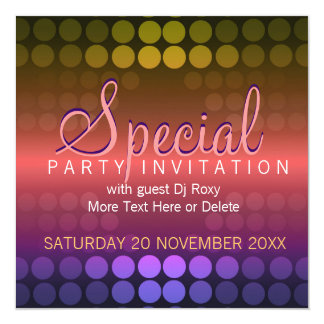 "Shiny Disco Dots Special Party Invitation 5.25"" Square Invitation Card"